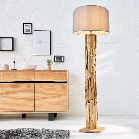 XL Stehlampe [SABAH] Grau aus Treibholz handgefertigt 160-175cm Höhe - 2