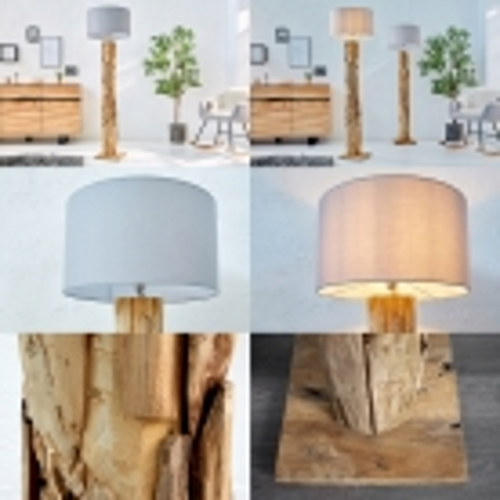 XL Stehlampe [SABAH] Grau aus Treibholz handgefertigt 160-175cm Höhe - 4