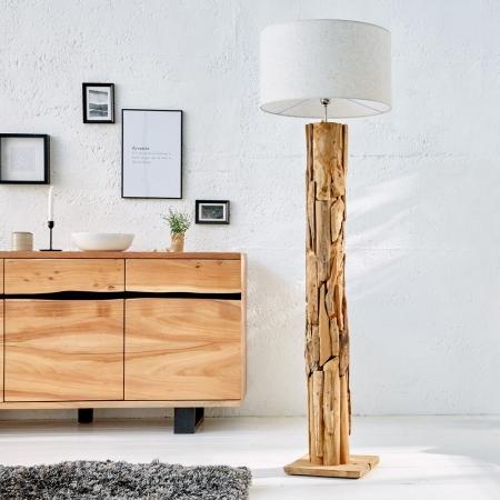 XL Stehlampe [SABAH] Beige aus Teakholz handgefertigt 160-175cm Höhe - 1
