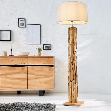 XL Stehlampe [SABAH] Beige aus Teakholz handgefertigt 160-175cm Höhe - 2