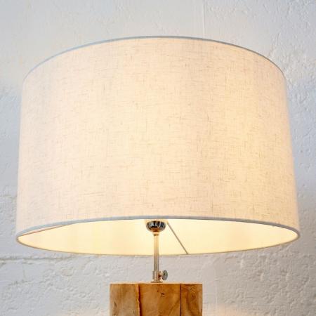 XL Stehlampe [SABAH] Beige aus Teakholz handgefertigt 160-175cm Höhe - 3