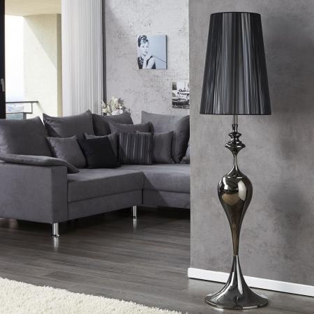 Stehlampe SCARLET Schwarz mit Standfuß aus Schwarz glänzendem Metall 160cm Höhe - 1