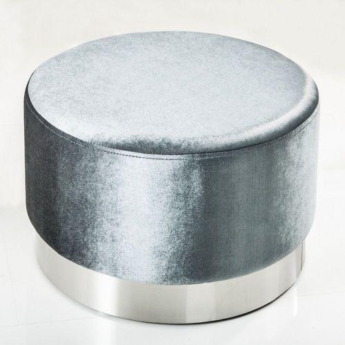 XL Sitzhocker POMPIDOU Silber aus Samtstoff mit Silber Metallsockel in Barock-Design 55cm x 35cm - 1