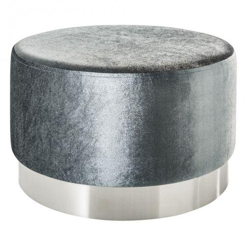 XL Sitzhocker POMPIDOU Silber aus Samtstoff mit Silber Metallsockel in Barock-Design 55cm x 35cm - 2