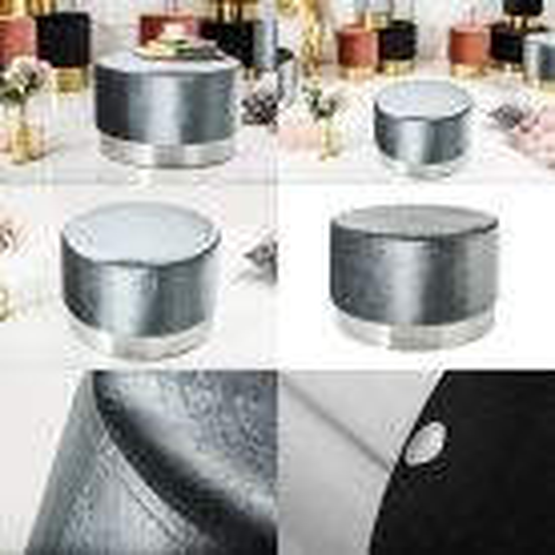 XL Sitzhocker POMPIDOU Silber aus Samtstoff mit Silber Metallsockel in Barock-Design 55cm x 35cm - 3