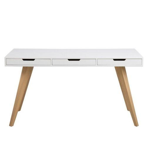 Schreibtisch AALBORG Weiß mit 3 Schubladen und Esche Beine 140cm x 60cm - 1