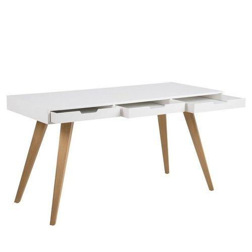 Schreibtisch AALBORG Weiß mit 3 Schubladen und Esche Beine 140cm x 60cm - 3