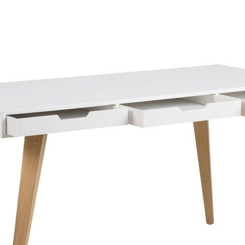 Schreibtisch AALBORG Weiß mit 3 Schubladen und Esche Beine 140cm x 60cm - 4