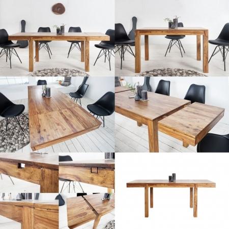 Esstisch SATNA Sheesham massiv Holz gewachst 120-160-200cm verlängerbar mit 2 Ansteckplatten - 3