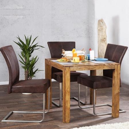 Esstisch SATNA Sheesham massiv Holz gewachst 70cm x 70cm - 2