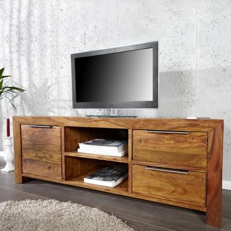 TV-Tisch SATNA Sheesham massiv Holz gewachst 135cm - 1