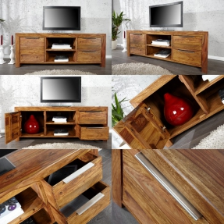 TV-Tisch SATNA Sheesham massiv Holz gewachst 135cm - 3