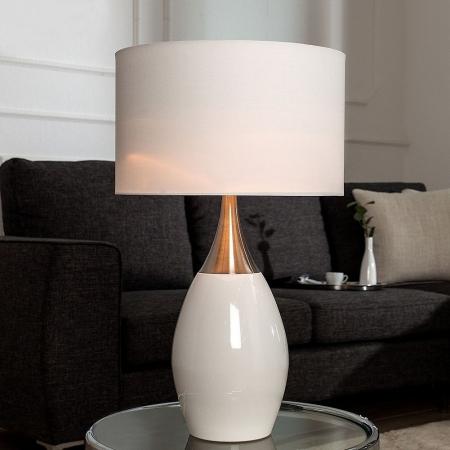 Tischlampe ANTJA Weiß-Silber mit Leinenschirm 60cm Höhe - 1