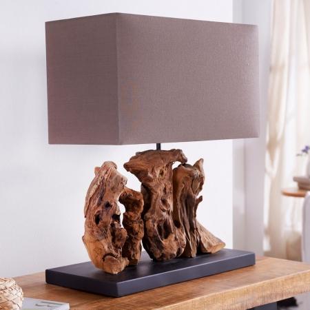 Tischlampe BANDAR Braun aus Treibholz handgefertigt 50cm Höhe - 1