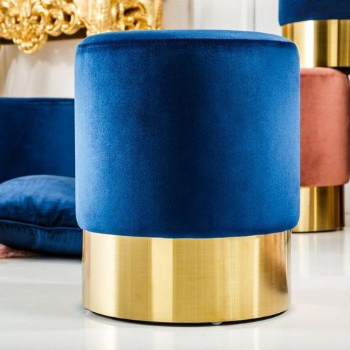 Sitzhocker POMPIDOU Blau aus Samtstoff mit Gold Metallsockel in Barock-Design 35cm x 41cm - 1