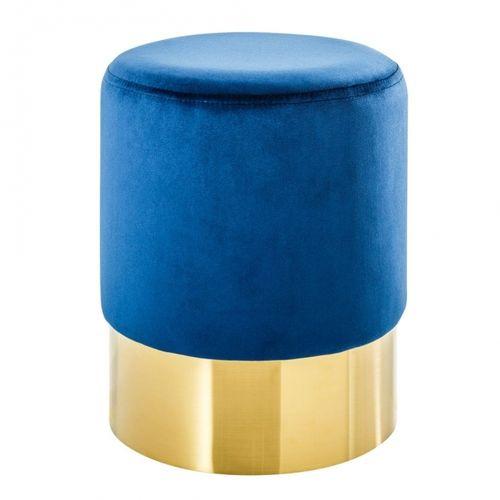 Sitzhocker POMPIDOU Blau aus Samtstoff mit Gold Metallsockel in Barock-Design 35cm x 41cm - 2
