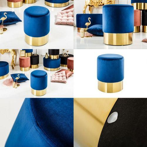 Sitzhocker POMPIDOU Blau aus Samtstoff mit Gold Metallsockel in Barock-Design 35cm x 41cm - 3