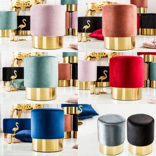 Sitzhocker POMPIDOU Blau aus Samtstoff mit Gold Metallsockel in Barock-Design 35cm x 41cm - 4