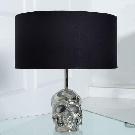 Tischlampe Totenkopf KIDD Schwarz & Silber aus Aluminium 44cm Höhe - 2