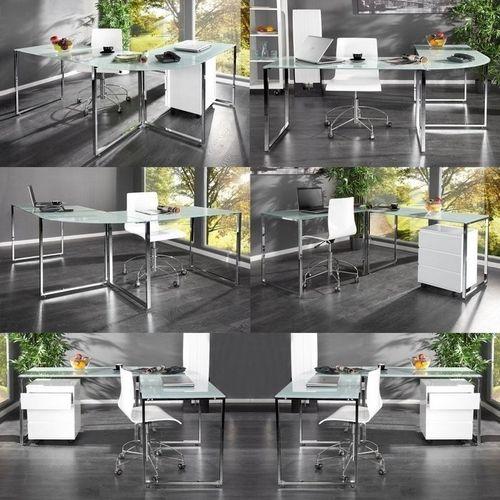 Glas-Eckschreibtisch MANHATTAN Weiß mit Chromgestell 180cm x 160cm - Beidseitig aufbaubar! - 2