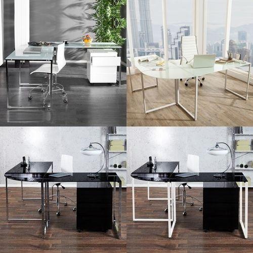 Glas-Eckschreibtisch MANHATTAN Weiß mit Chromgestell 180cm x 160cm - Beidseitig aufbaubar! - 4