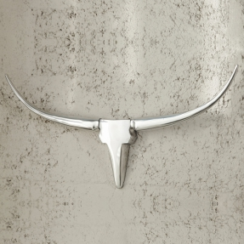 Deko Stierkopf Schädel ARIZONA Silber aus poliertem Aluminium 75cm Länge - 1