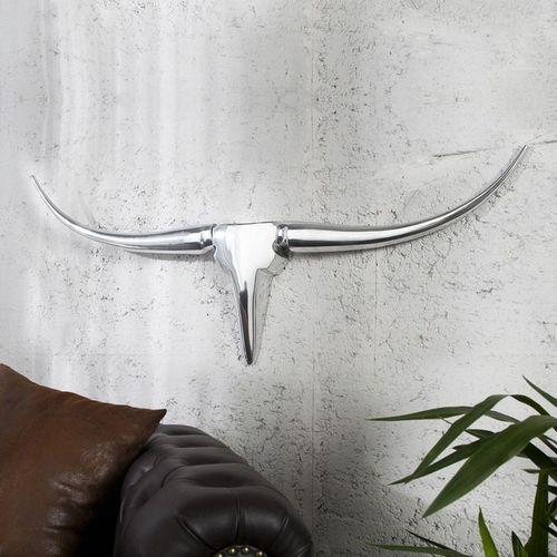 Deko Stierkopf Schädel ARIZONA Silber aus poliertem Aluminium 100cm Länge - 1