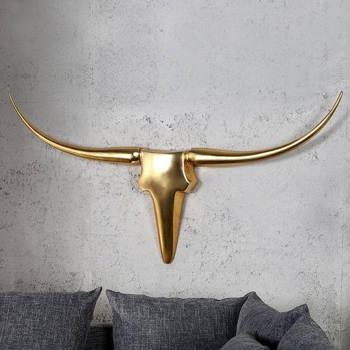 Deko Stierkopf Schädel ARIZONA Gold aus poliertem Aluminium 125cm - 1