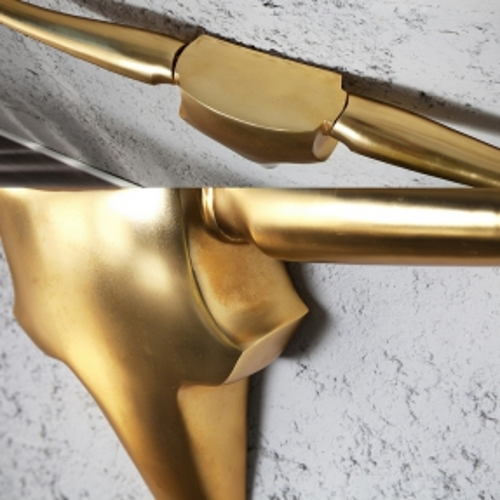 Deko Stierkopf Schädel ARIZONA Gold aus poliertem Aluminium 125cm Länge - 3