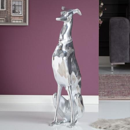 Deko Skulptur Windhund GALGO Español Silber aus poliertem Aluminium 70cm Höhe - 1