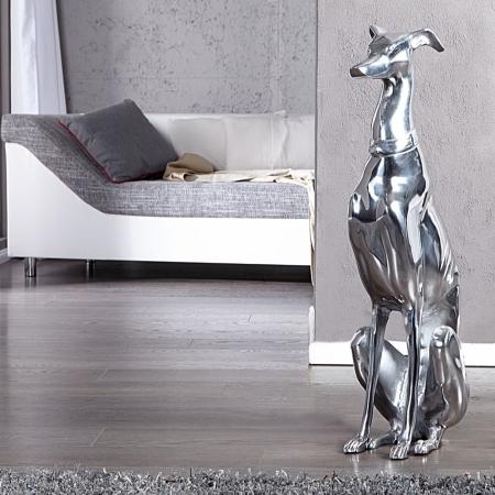 Deko Skulptur Windhund GALGO Español Silber aus poliertem Aluminium 70cm Höhe - 2