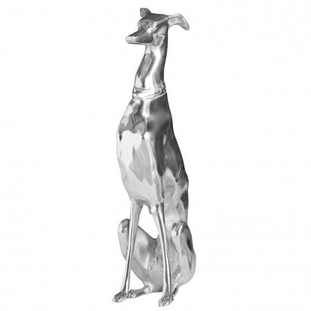 Deko Skulptur Windhund GALGO Español Silber aus poliertem Aluminium 70cm Höhe - 4
