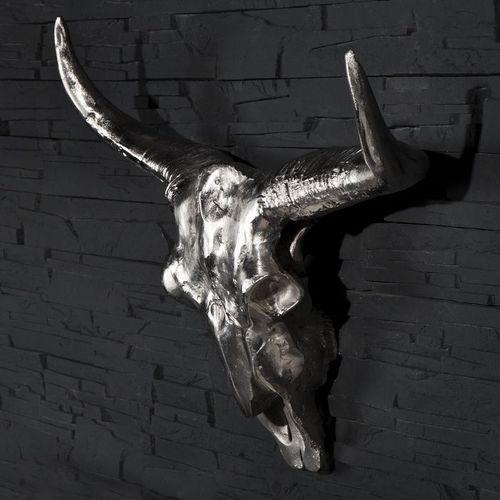 Deko Stierkopf Schädel RODEO Silber aus poliertem Aluminium 63cm x 73cm - 2