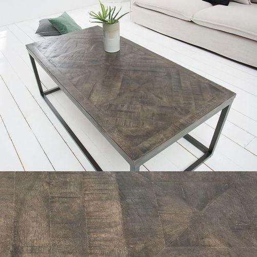 Industriedesign Couchtisch SITA Grau aus Mangoholz in Fischgratoptik handgefertigt 100cm - 2