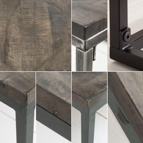 Industriedesign Couchtisch SITA Grau aus Mangoholz in Fischgratoptik handgefertigt 100cm - 4