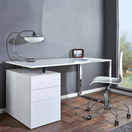 Schreibtisch NEWCASTLE Weiß Hochglanz mit Bürocontainer 160cm x 70cm - 2