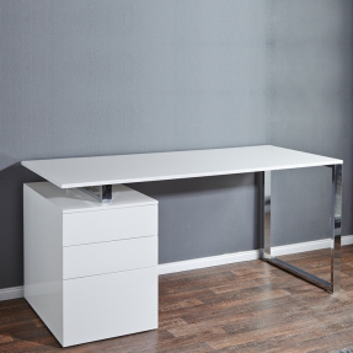 Schreibtisch NEWCASTLE Weiß Hochglanz mit Bürocontainer 160cm x 70cm - 3