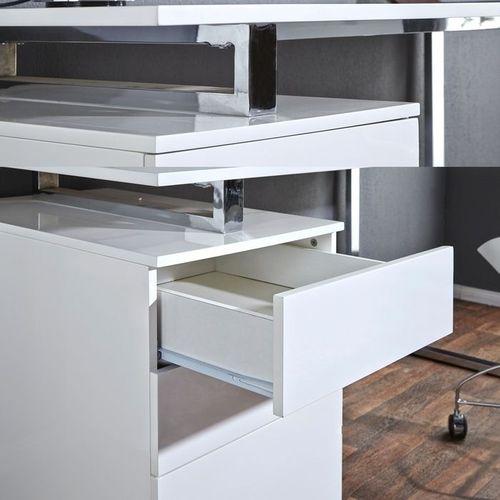 Schreibtisch NEWCASTLE Weiß Hochglanz mit Bürocontainer 160cm x 70cm - 4