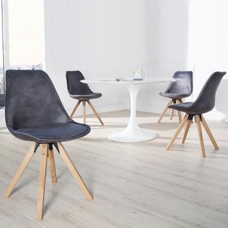 Retro Stuhl GÖTEBORG Grau-Antik-Eiche Kunstleder im skandinavischen Stil - 1