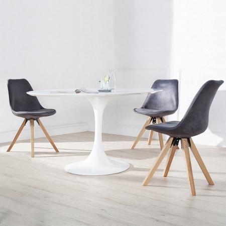 Retro Stuhl GÖTEBORG Grau-Antik-Eiche Kunstleder im skandinavischen Stil - 2