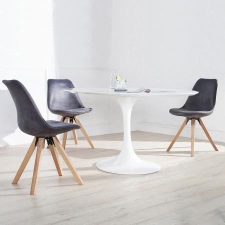Retro Stuhl GÖTEBORG Grau-Antik-Eiche Kunstleder im skandinavischen Stil - 3