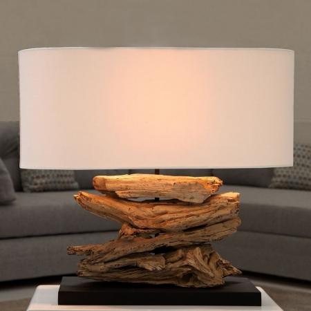 Tischlampe TIMOR Beige aus Treibholz handgefertigt 55cm Breite - 1