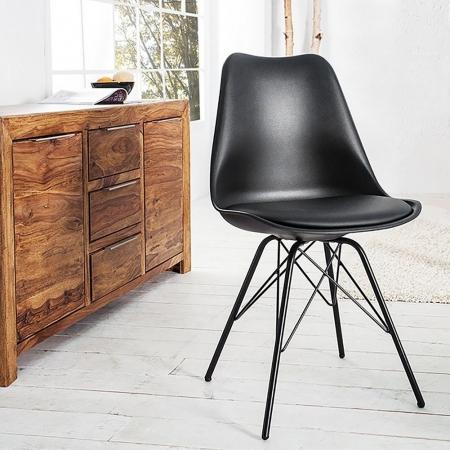 Retro Stuhl GÖTEBORG Schwarz & Metallgestell Schwarz im skandinavischen Stil - 1