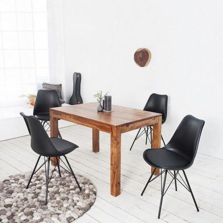Retro Stuhl GÖTEBORG Schwarz & Metallgestell Schwarz im skandinavischen Stil - 2