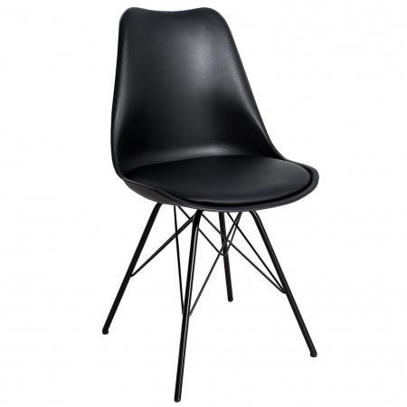 Retro Stuhl GÖTEBORG Schwarz & Metallgestell Schwarz im skandinavischen Stil - 3