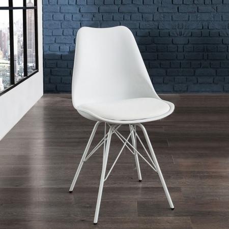 Retro Stuhl GÖTEBORG Weiß & Metallgestell Weiß im skandinavischen Stil - 1