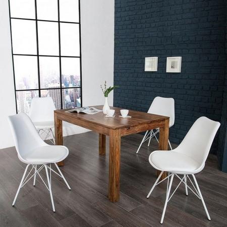 Retro Stuhl GÖTEBORG Weiß & Metallgestell Weiß im skandinavischen Stil - 2