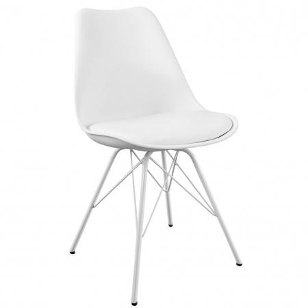 Retro Stuhl GÖTEBORG Weiß & Metallgestell Weiß im skandinavischen Stil - 3