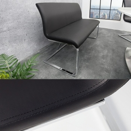 Sitzbank ENZO Schwarz aus Kunstleder 130cm - 1