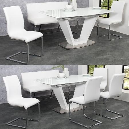 Sitzbank ENZO Weiß aus Kunstleder 130cm - 2